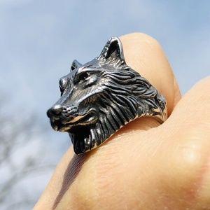 Stainless Steel 3D Wild Wolf Head Statement Ring